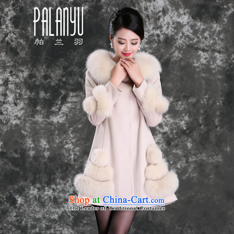 Palun Yu high-end extra large really gross collar cashmere overcoat fox female 2015 new genuine wool a wool coat red hair? large燞871 loose coat m White燣