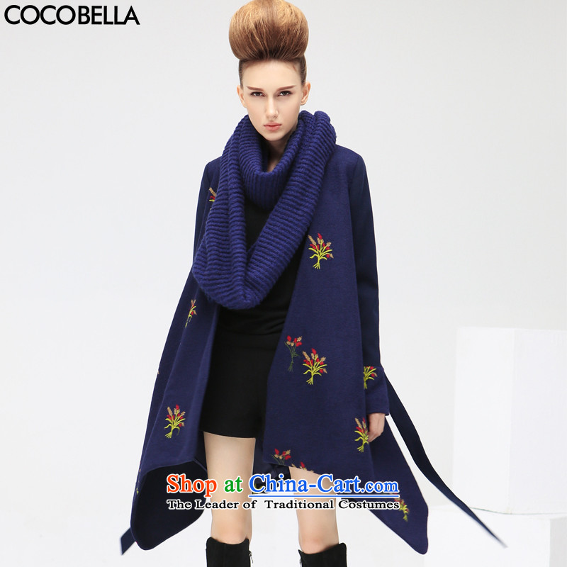 The autumn 2015 new COCOBELLA embroidery cloak shawl, a wool coat women's gross CT365 possession blue jacket?燣
