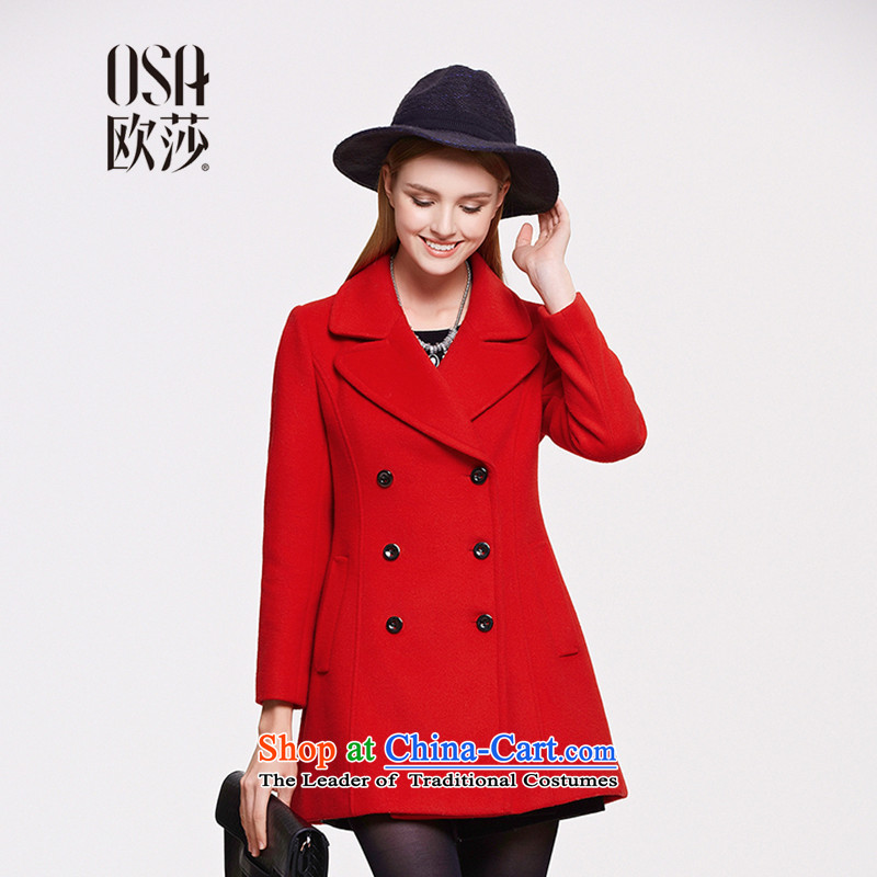 The OSA EURO 2015 Winter New Windsor female double-a wool coat women's gross SD523011 jacket? large red?M