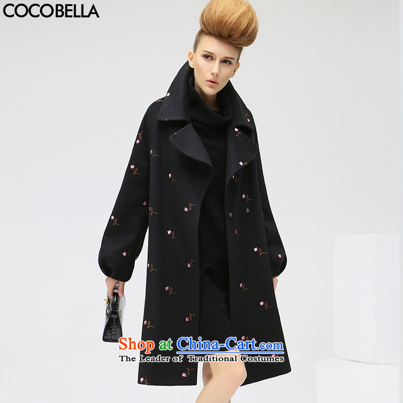 The fall of new products relaxd COCOBELLA2015 long woolen coat embroidered dress jacket CT360 thick hair? black燣 pre-sale 18 December_ Shipping