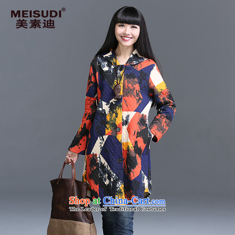 2015 Autumn and Winter Korea MEISUDI version of large numbers of ladies thick sweater loose video in thin long suit small arts with cap fresh cardigan jacket orange XXL