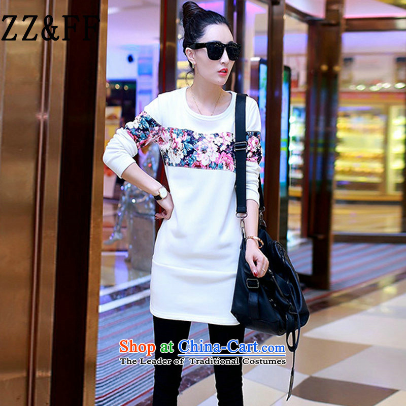 2015 Autumn and winter Zz_ff new Korean version plus video in thin long lint-free, forming the Netherlands female long-sleeved T-shirt and Ladies bags dresses爓hite燲XXXL 0204