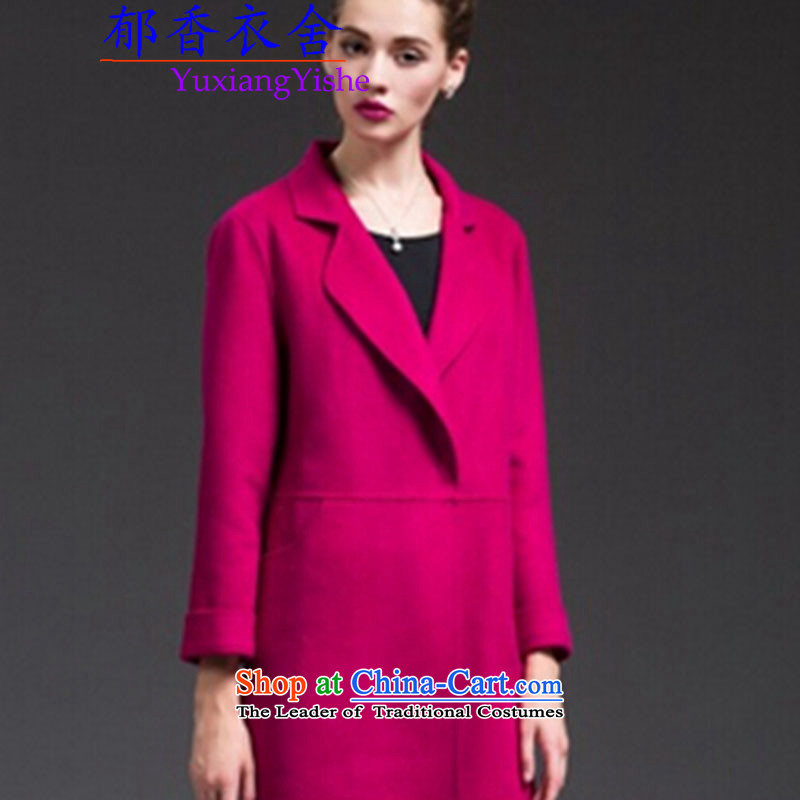 Yu Xiang Yi homes by 2015 new autumn and winter coats female two-sided Cashmere wool sweater in a long, long-sleeved thin deep in the Video   RED L