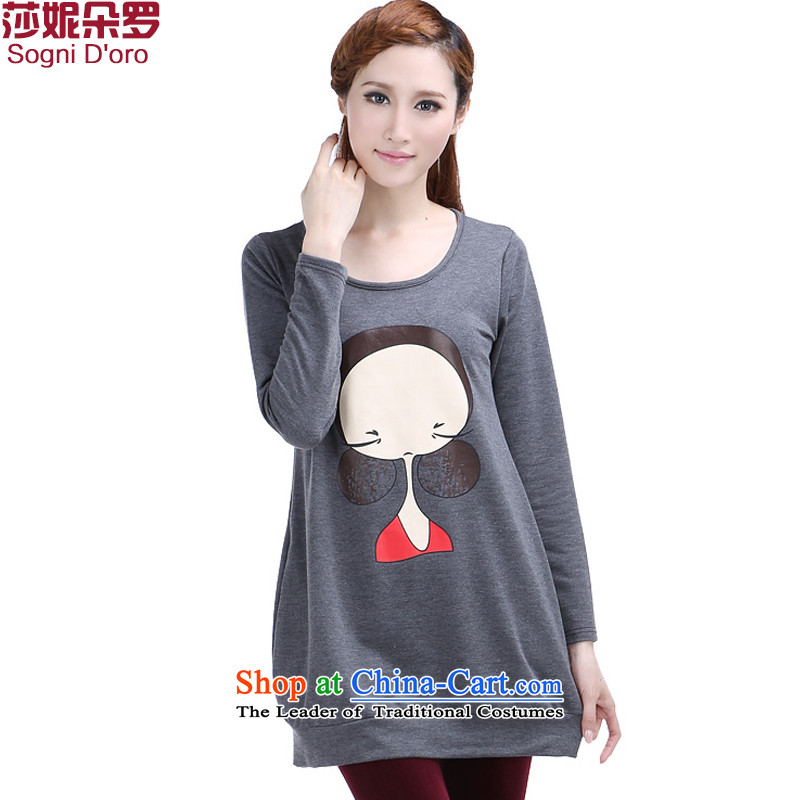 The latte macchiato, Shani to increase women's code load autumn 2015 relaxd cartoon stamp long-sleeved T-shirt 6359�L Gray