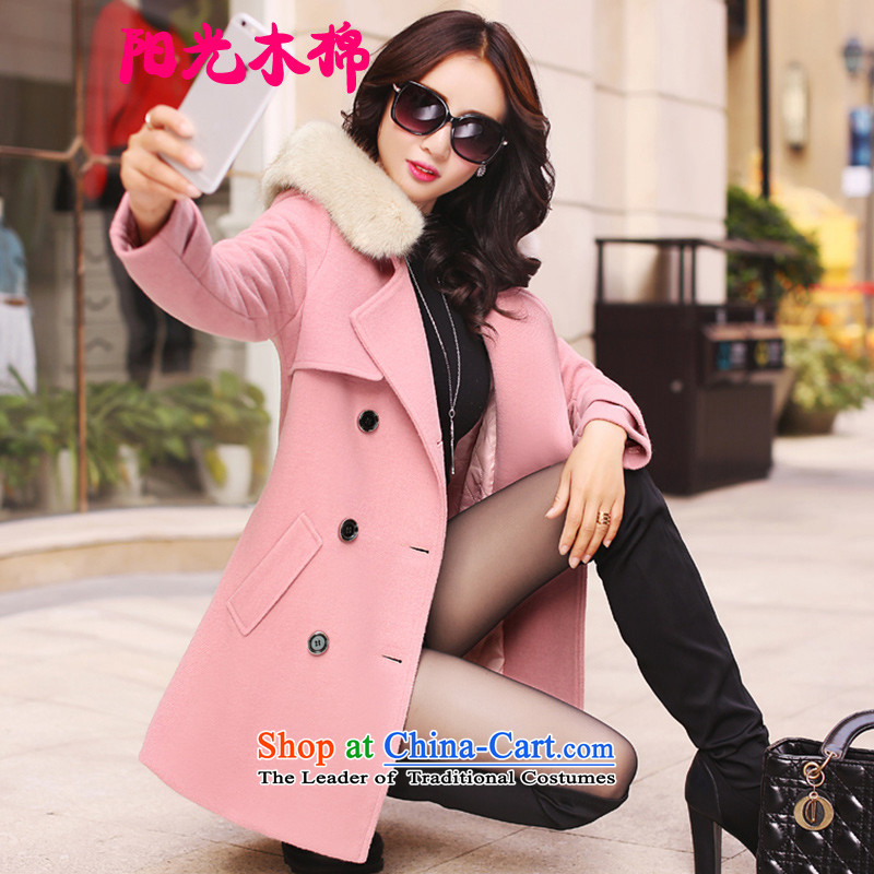 The sunshine of kapok�15 Fall_Winter Collections new Korean thick large female a wool coat girl in the medium to long term, Sau San? Wind Jacket gross female leather toner folder cotton燤