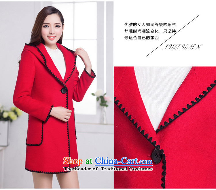 Korean fashion, long large female a wool coat 2015 winter clothing New Sau San Mao jacket female Red?聽L picture, prices, brand platters! The elections are supplied in the national character of distribution, so action, buy now enjoy more preferential! As soon as possible.