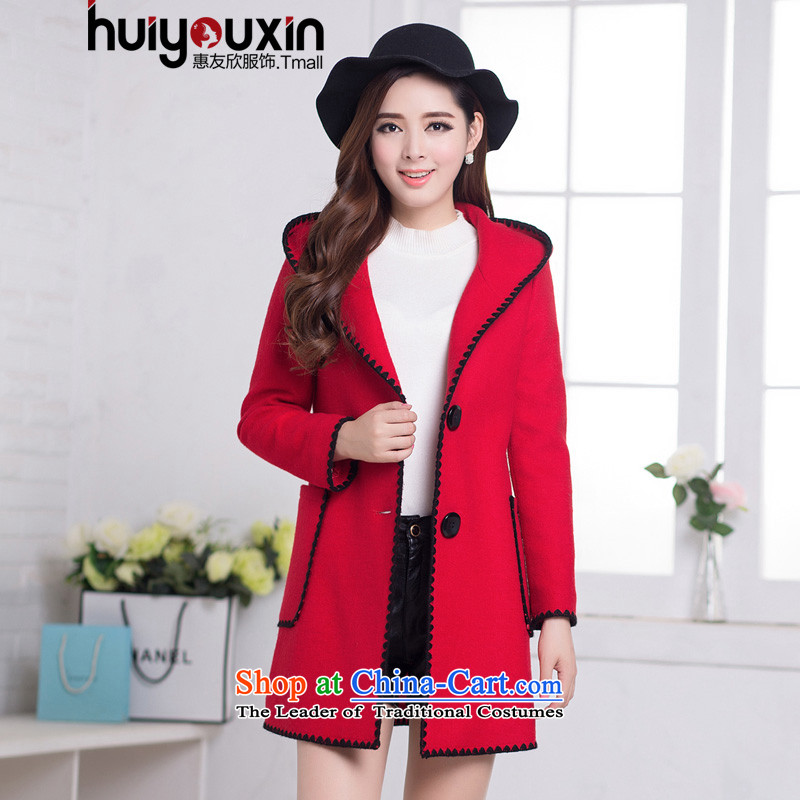 Korean fashion, long large female a wool coat 2015 winter clothing New Sau San Mao jacket female red聽L?