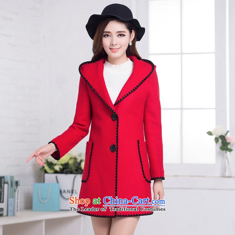 Korean fashion, long large female a wool coat 2015 winter clothing New Sau San Mao jacket female red聽L? benefit friends Yan (HYX) , , , shopping on the Internet