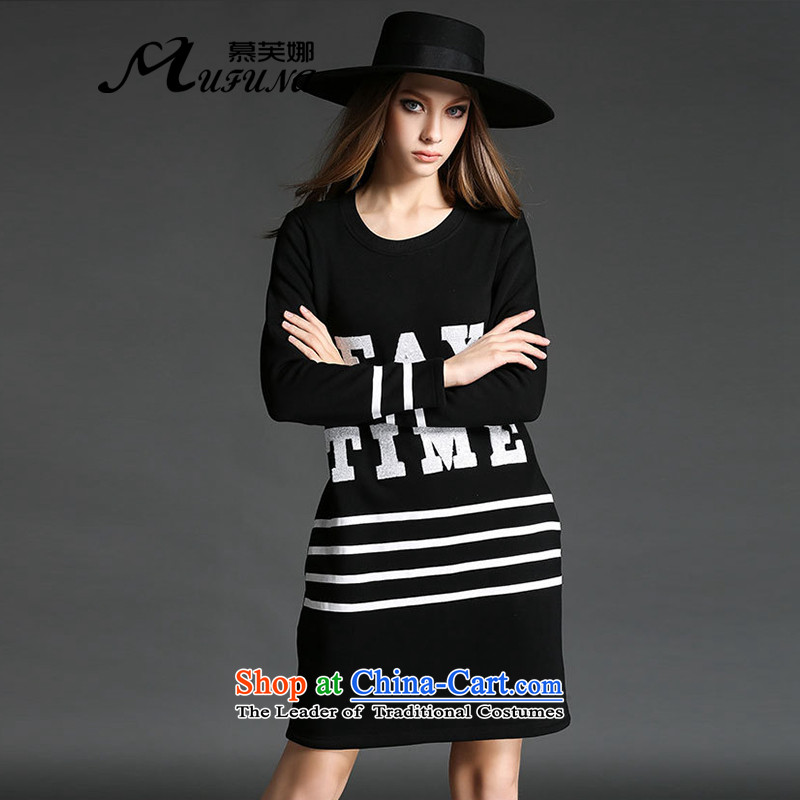 The Europe and improving access for larger women 2015 autumn and winter new thick mm round-neck collar forming the liberal skirt the lint-free long-sleeved thick dresses燴-2173牋5XL black