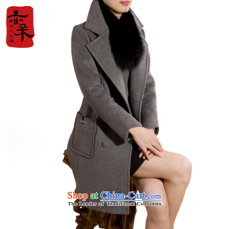 2015 Autumn and winter new thick hair girl in the jacket? Long cashmere cloak large Sau San wool a wool coat Gray聽L