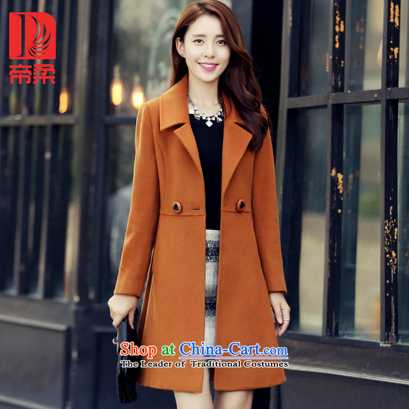 Dili Sophie _DIROU_2015 winter clothing new gross girls jacket? Long Foutune of thick wool a wool coat DD620 Kim and color燲L