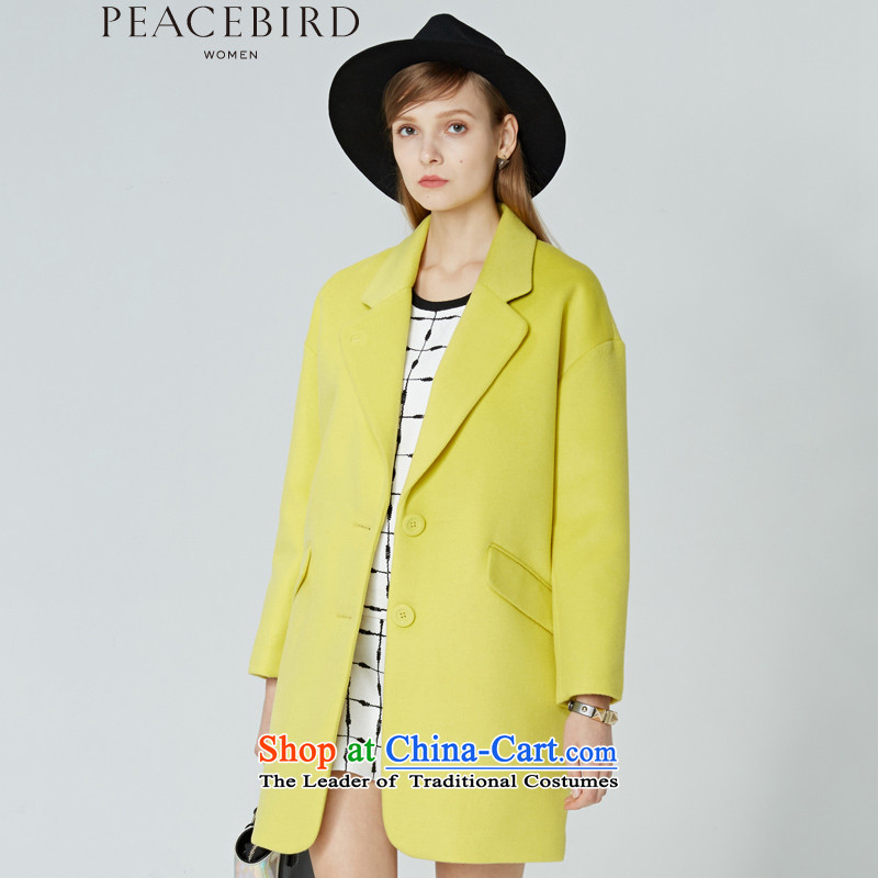 Women Peacebird 2015 winter clothing new products in basic health _CIS_ coats A3AA44414 long yellow聽M