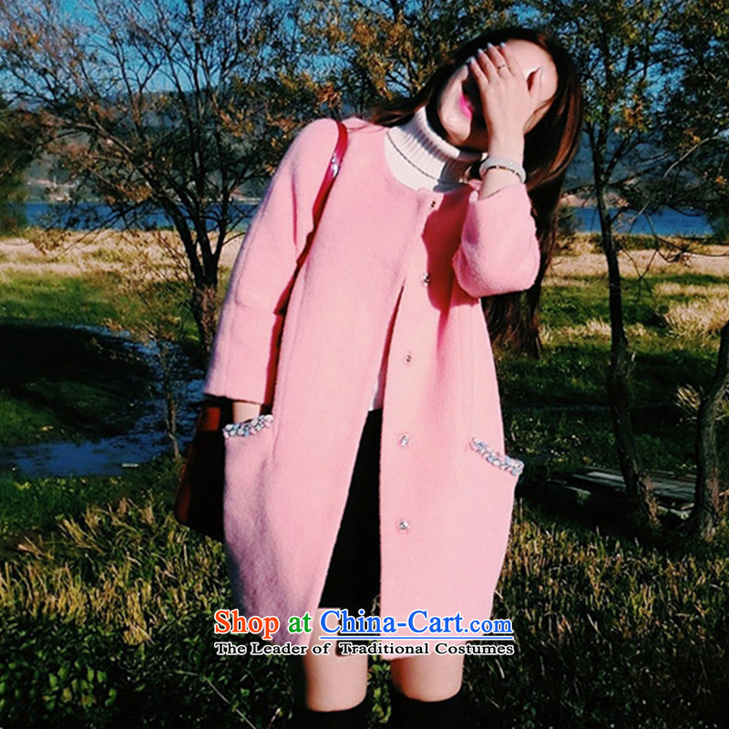 2015 Fall/Winter Collections Korean girls jacket sweater long graphics thin round-neck collar Sau San? XYR11916 coats pink XL