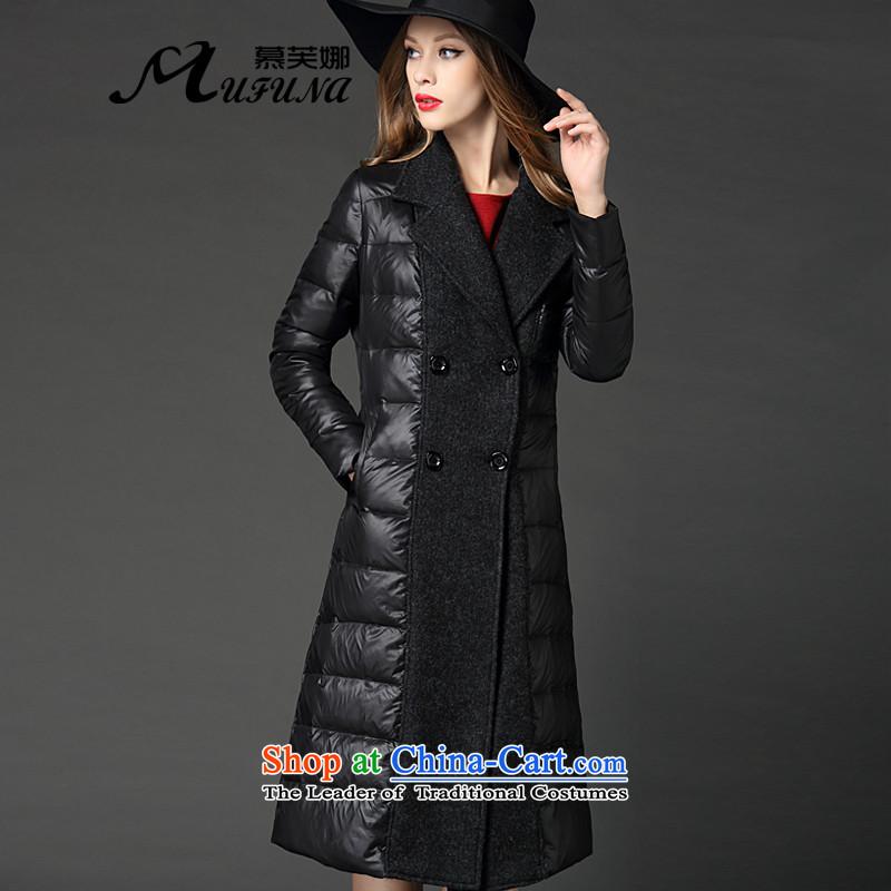 The pre-sale of Western big improving access for women 2015 winter new temperament long black, Sau San downcoat femaleM-f5058 warmBlack_early December 6_ 3XL Sunrise