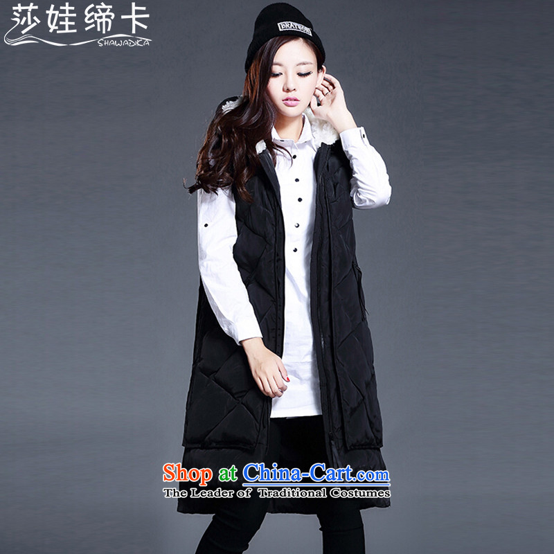 Elisabeth wa concluded card thick large female persons in long vest Sau San with cap to increase female Cotton Women's code 200 catties of winter clothing DOWN VEST female thick blackXXXL large Tien 170 to 190 catties can penetrate