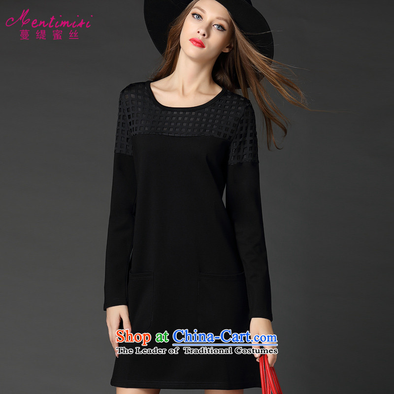 Overgrown Tomb economy honey population large European and American women thick mm autumn and winter new minimalist engraving graphics thin long-sleeved dresses   2,542 large black 5XL around 922.747 200