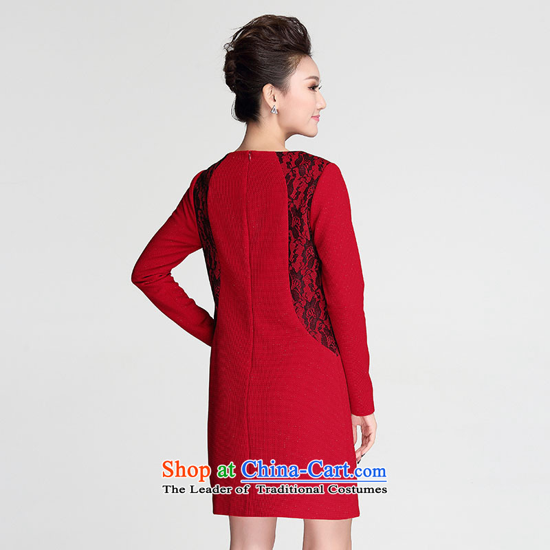 The former Yugoslavia Migdal Code women 2015 autumn and winter new thick long-sleeved won for the graphics sister thin dresses 953101552  3XL red