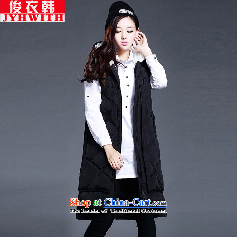 Mr James TIEN Yi Won xl women fall thick mm thin thick children video long vest women thick girls' Graphics thin, long winter clothing in Korean, a female jacket cotton black XXXL 170 to 190 catties can penetrate