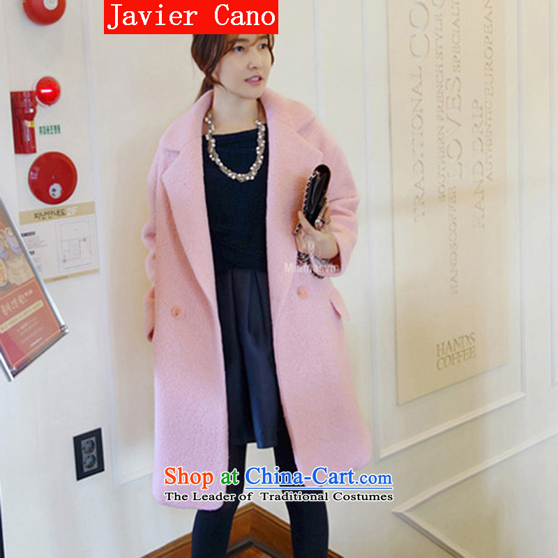 Javier cano 2015 autumn and winter new Korean gross long coats that can cocoon-thick the wool cotton wool coat female pink? The cotton燤