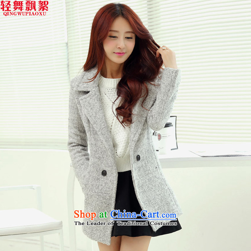 Piao wadding dance light jacket coat? female autumn and winter, 2015 Autumn for women Korean female coats of Sau San Mao? 1018 Gray L