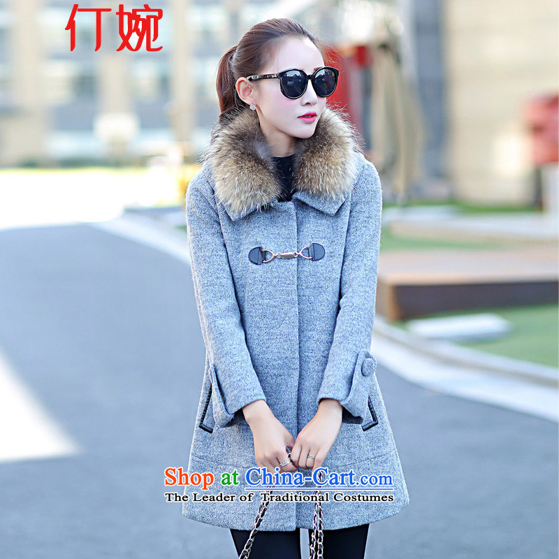 Ding Yuen 2015 winter for women on the new arrangement for new coats of female Korean jacket in Sau San Mao? long coats female 7203 gross? Gray L