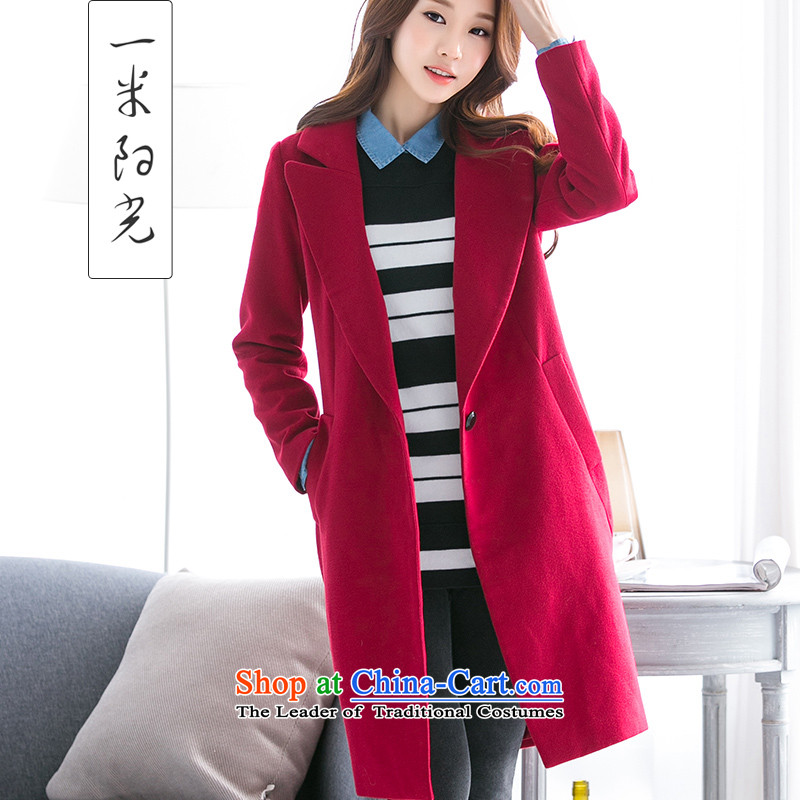 One meter Sunshine?2015 autumn and winter New Women Korean suits for Sau San red jacket girl in gross? Long a wool coat wine red?L