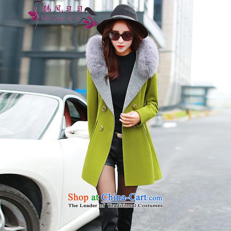 Korea Breeze�15 new women's gross girls jacket? long hair for name-yuan fox small incense wind a wool coat women 5066 Bodhi green燣