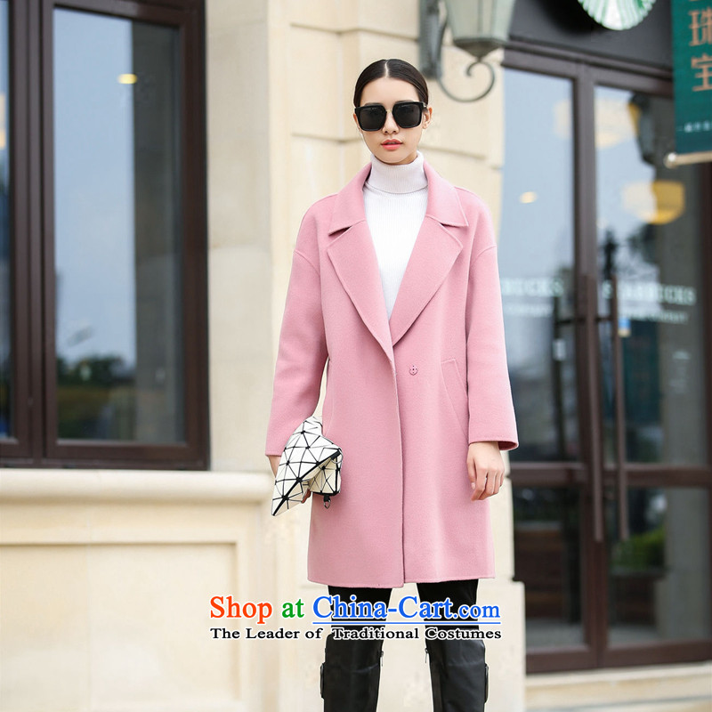 2015 Autumn and winter new double-side woolen coat female high-end non-cashmere in long Lok rotator cuff suits for the full wool coat nude燤_38?