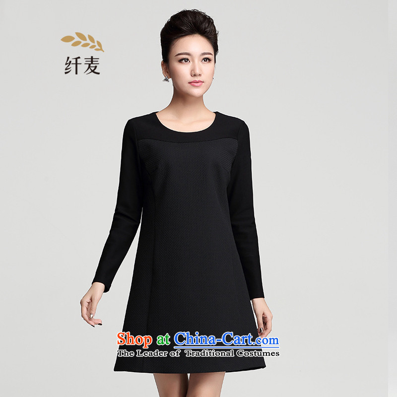 The former Yugoslavia Migdal Code women 2015 winter clothing new MM thick solid color stitching minimalist dresses 954101514 long-sleeved black�L