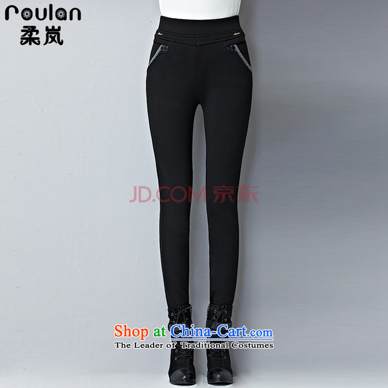Sophie sponsors to increase women's code plus forming the thick wool pants 2015 Fall/Winter Collections new thick mm thick, Hin thin high-lumbar casual pants female black 5XL 1334