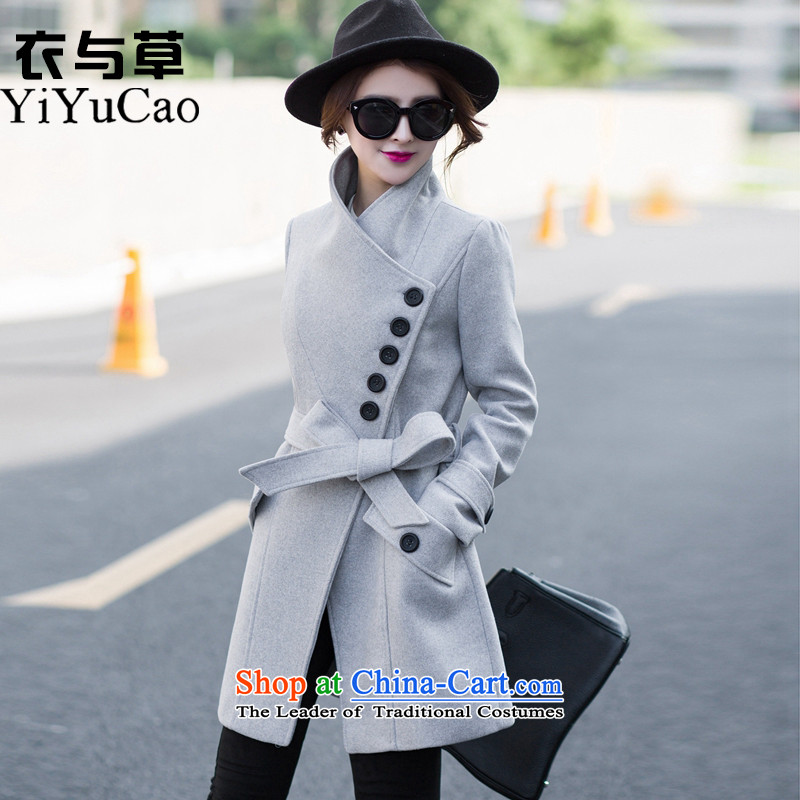 Yi with grass 2015 Korean a wool coat girl child?? coats female gross jacket in long hair? female winter coats on new 581 gray XL
