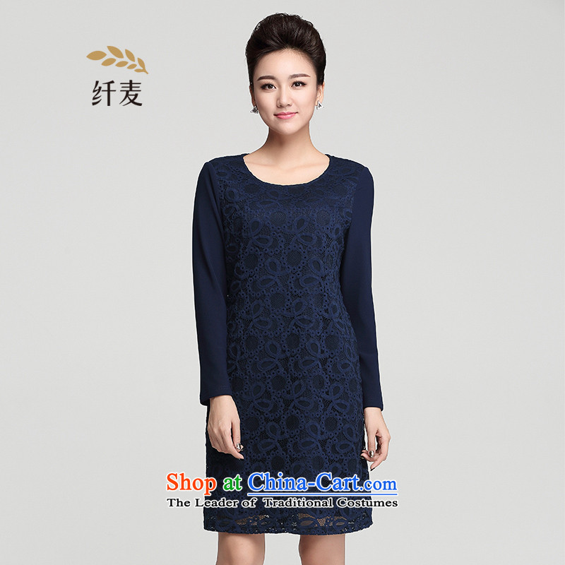 The pre-sale of Yugoslavia Migdal Code women 2015 winter clothing new mm thick stylish plus large-thick wool dresses 954101679 blue pre-sale 12.12 shipment 4XL