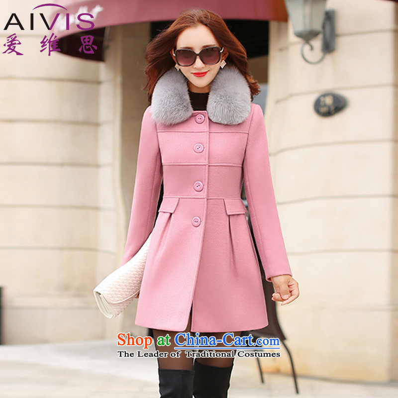 Love Rowse聽2015 autumn and winter new Korean version of Sau San video thin hair? jacket a wool coat pink聽L