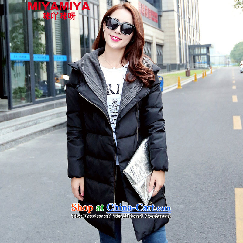 The Korean version of large numbers MIYAMIYA in long coats female autumn and winter Fashion Cap large female to intensify DOWNCOAT�L black