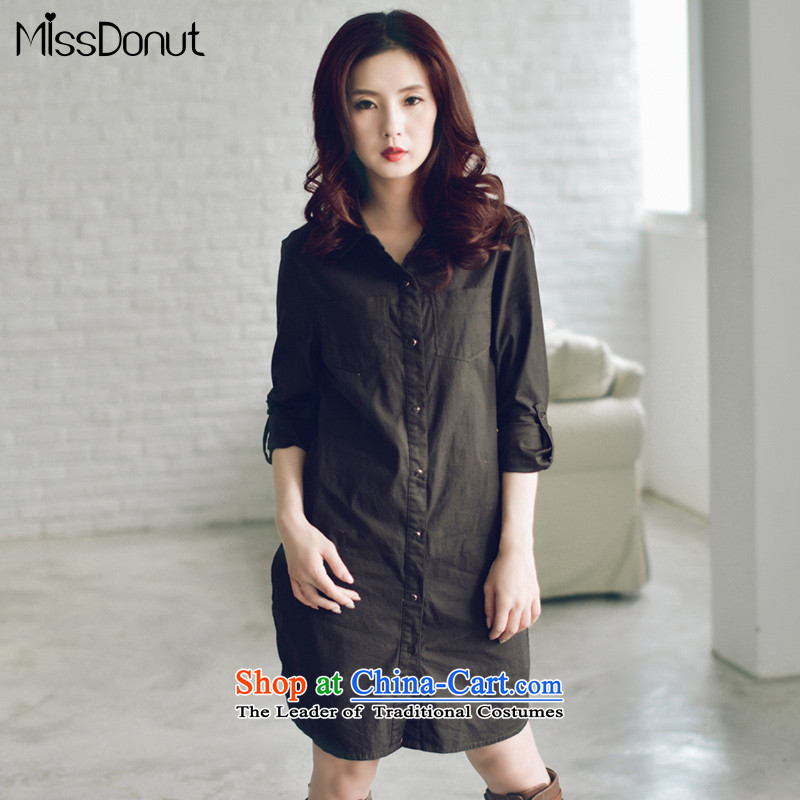 To increase the number missdonut female autumn and winter, thick 200 catties of deduction sister shirt Korean thick, Hin thin large shirts, women's long-sleeved large dark green XXL recommendations 150-175 catty