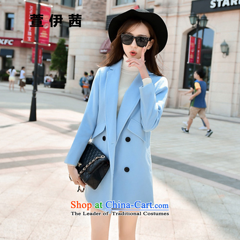 Xuan of sin 2015 autumn and winter coats gross new female Korean? loose video thin hair? jacket?1066?light blue?XL