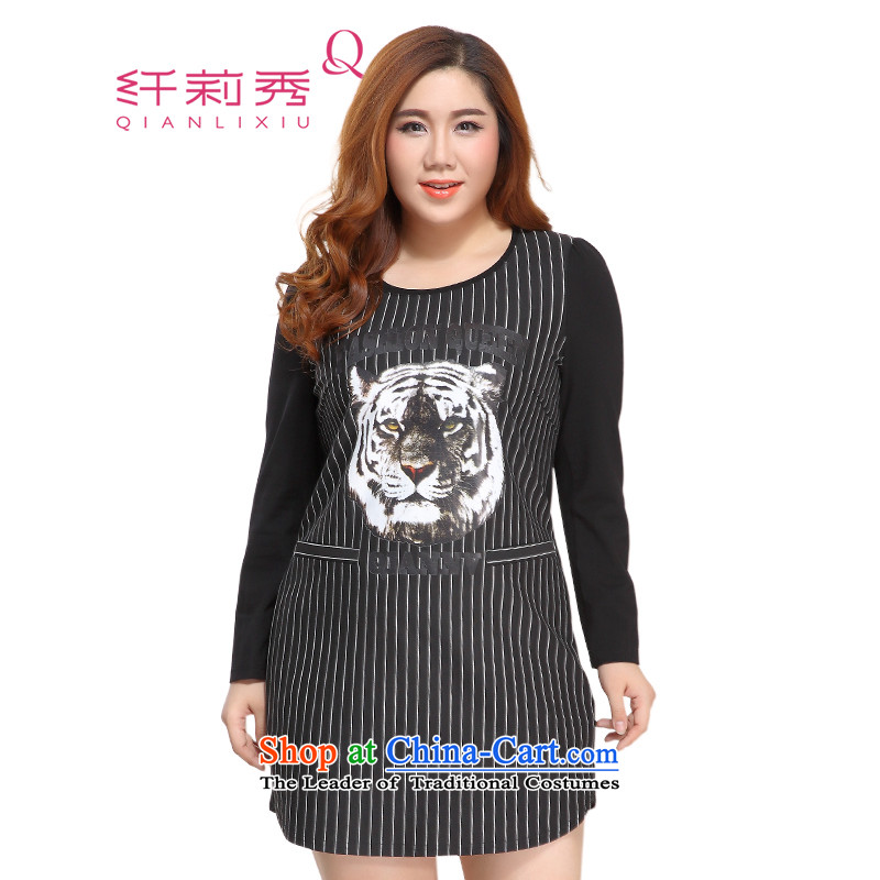 The former Yugoslavia Li Sau 2015 Fall/Winter Collections new larger female round-neck collar animals stamp graphics thin stripes wild dresses 3XL 0766 Black