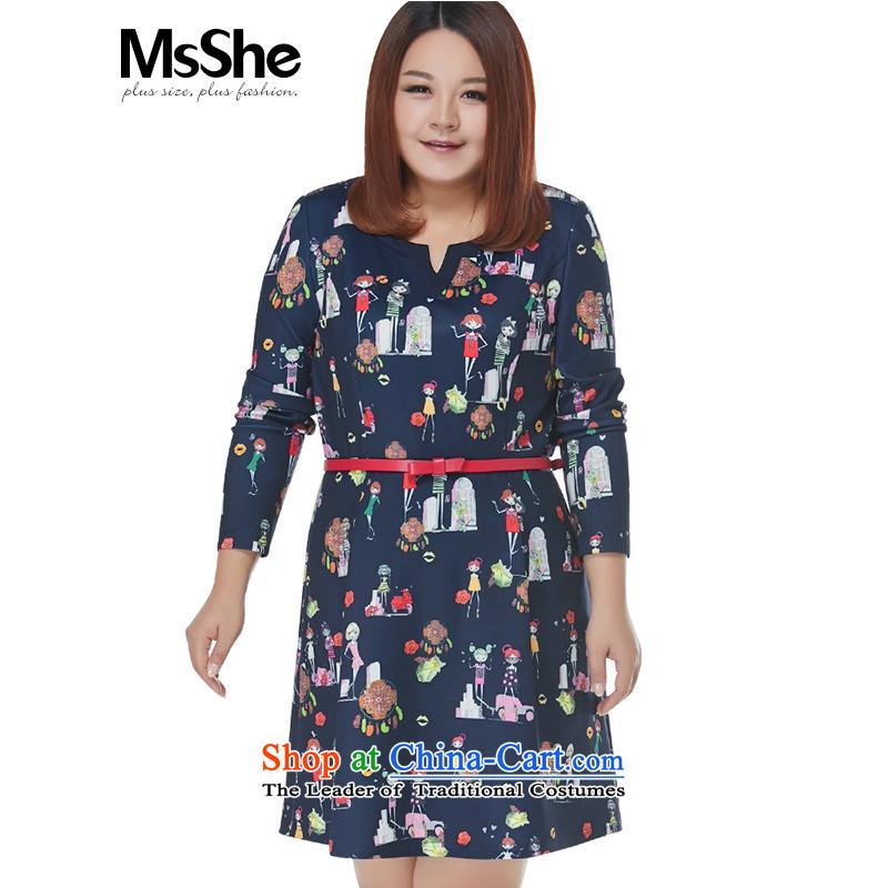 Msshe xl women 2015 new winter clothing thick MMV collar foutune cartoon dress 10655 blue�L Safflower