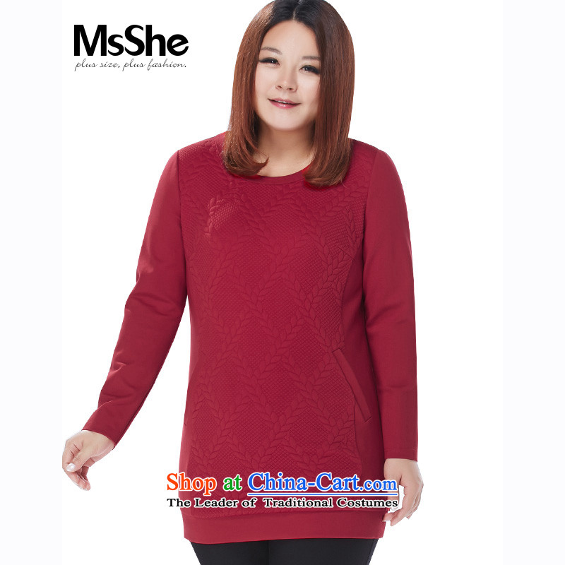 Large msshe women 2015 new winter clothing thick MM knit jacquard fabric a plug-in T-shirt, long bag 11070 Bourdeaux�L