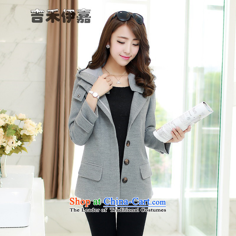 Gil Wo Ika autumn and winter New College wind jacket suit middle-aged about gross 30-35-45 leisure temperament vocational gross age? jacket, light gray燣