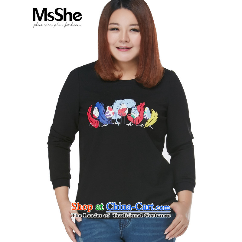 To increase the number msshe women 2015 new autumn and winter thick sister stamp pattern kit and sweater US_ 109.4 black?2XL