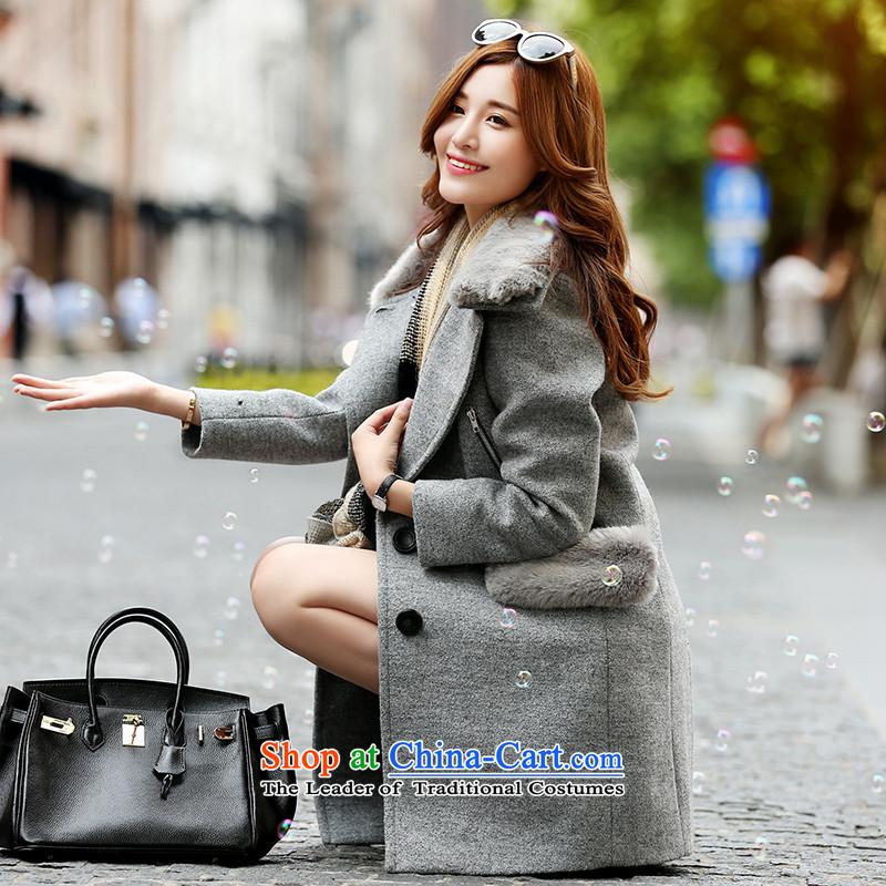 Park woke up to 2015 winter clothing new Korean Sau San fashion, long-Nagymaros collar coats female gray hair?燤