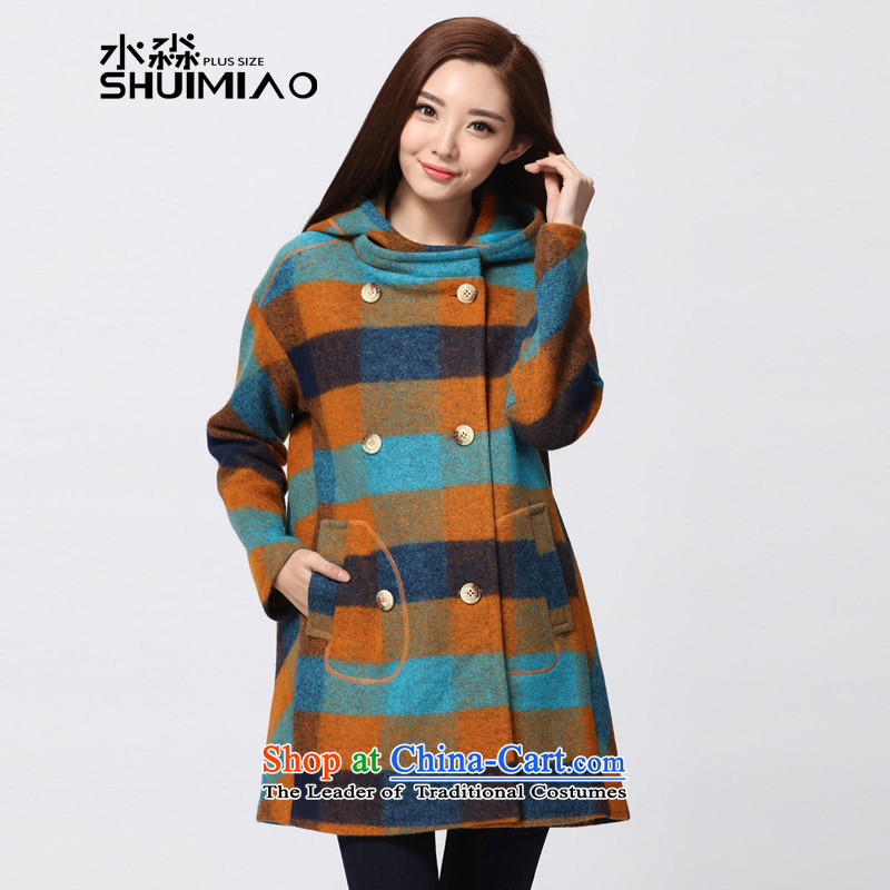 The representative of the water thick mm2015 larger female woolen coats winter coats a female cashmere overcoat, blue, orange S15DM5634 L
