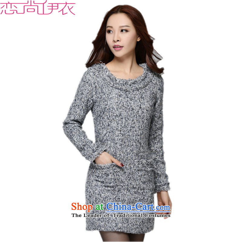 2015 new coarse wool terylene sub dresses round-neck collar long-sleeved autumn and winter skirt to XL OL commuter video thin, forming the basis of Sau San Fat Mei package and skirt gray skirt燼round 140-155 XXL catty