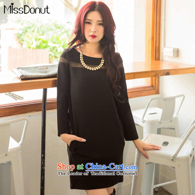 To increase the number missdonut long-sleeved dresses autumn and winter, sister mm thick Korean women who thick video_ field for thin engraving forming the skirt black large 3XL recommendations 175-185 code catty