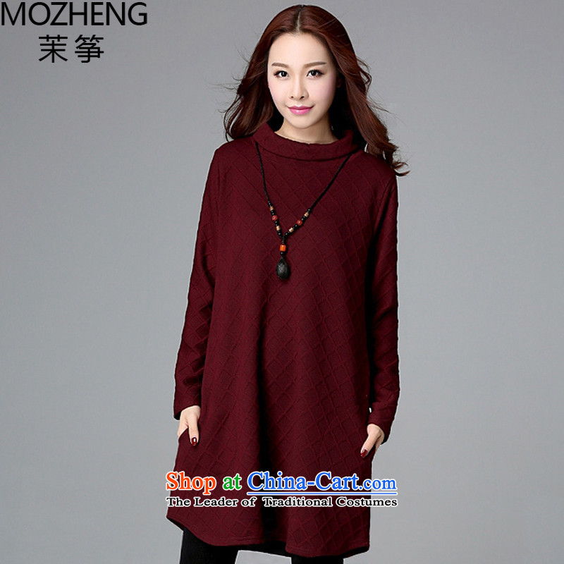 Energy Exports _2015_ autumn and winter mozheng Korean version of the fat xl female thick mm high collar sweater dresses female�5燘OURDEAUX燬