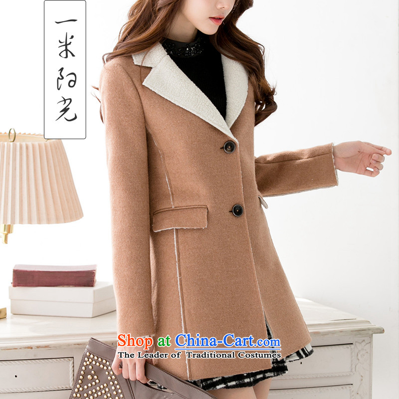 One meter Sunshine聽 2015 Fall_Winter Collections new lamb jacket with female Korean citizenry in Sau San long hair color and female coats?聽M