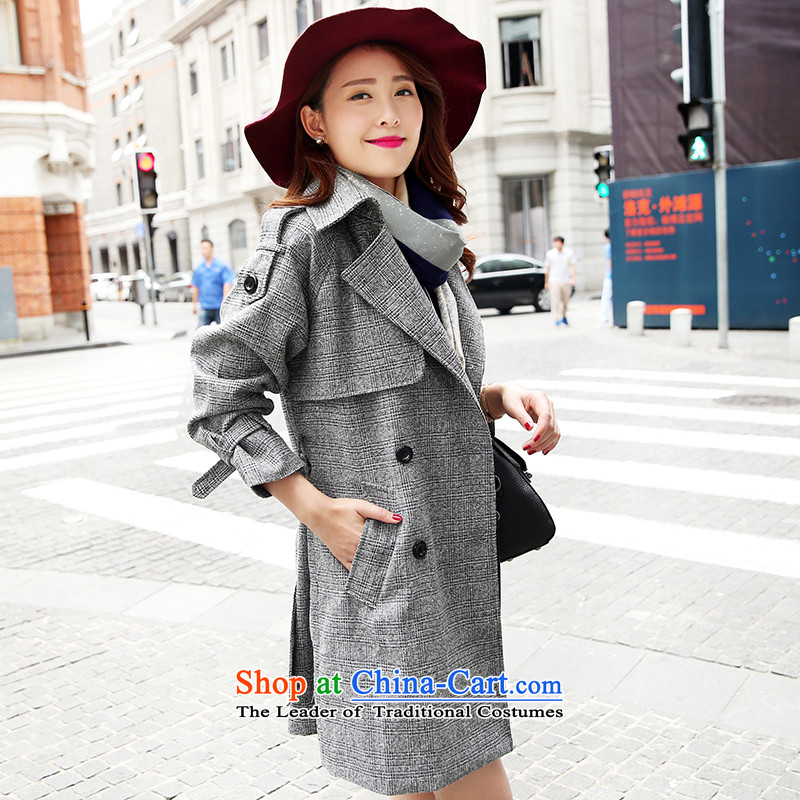 Park woke up to 2015 winter clothing new Korean fashion, Sau San long suit for gross female gray jacket??M