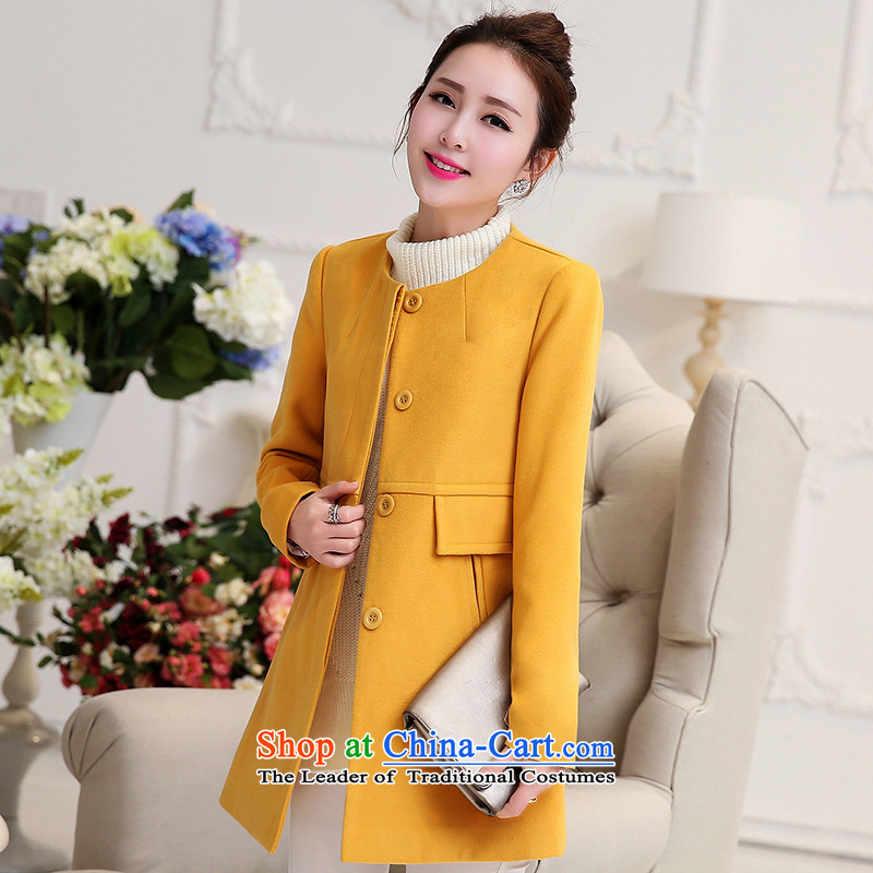 Park woke up to 2015 winter clothing new Korean style and simplicity in Sau San long collar gross jacket female Yellow燤?