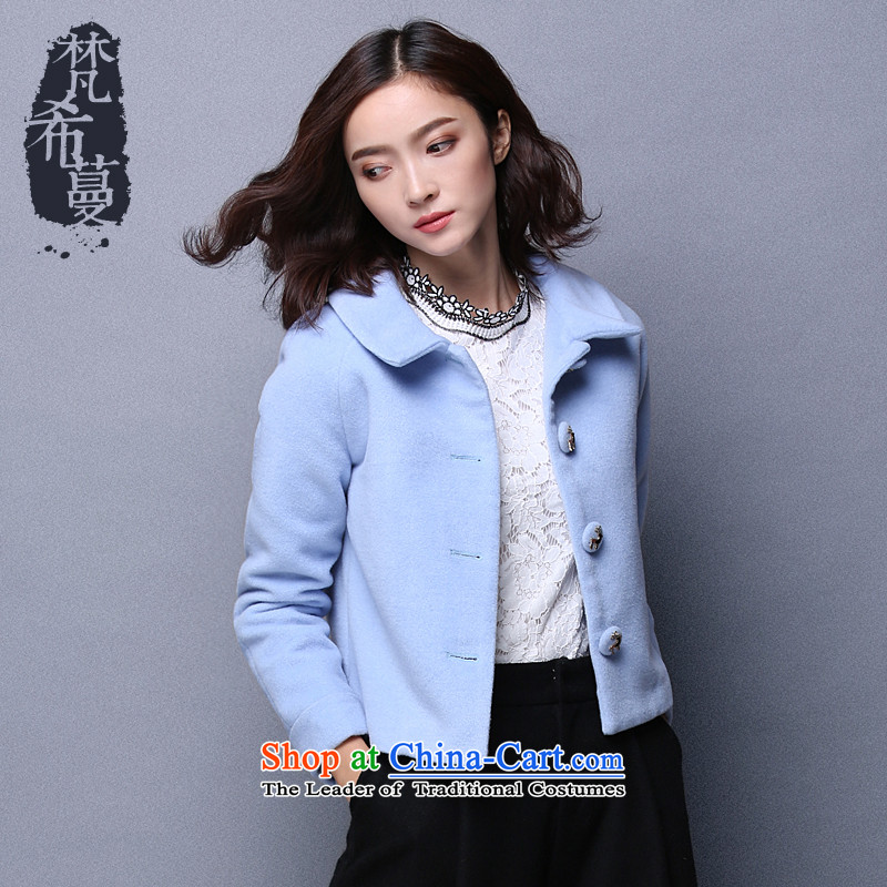 Van Gogh Greek Golden Harvest autumn and winter 2015 new sweet lady pure color lapel small jacket female short Fleece Jacket� 66037 so gross燽lue燬